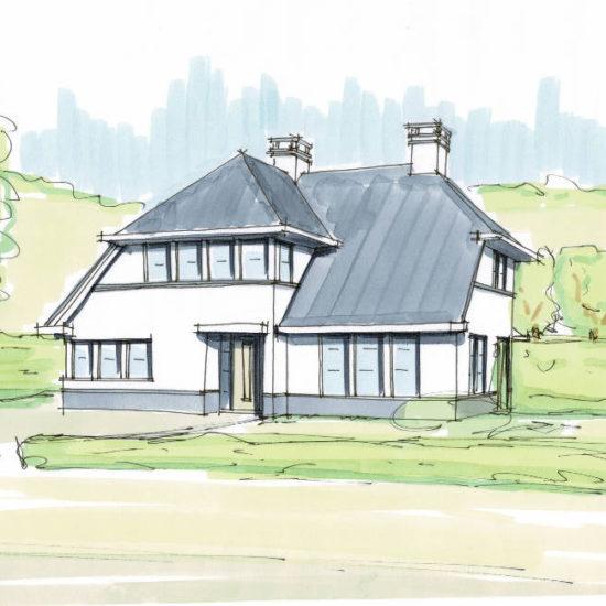 moderne villa, nieuwbouw woning, witte gevels, donkere dakpan, Raalte architect, Groningen, statige villa, salland