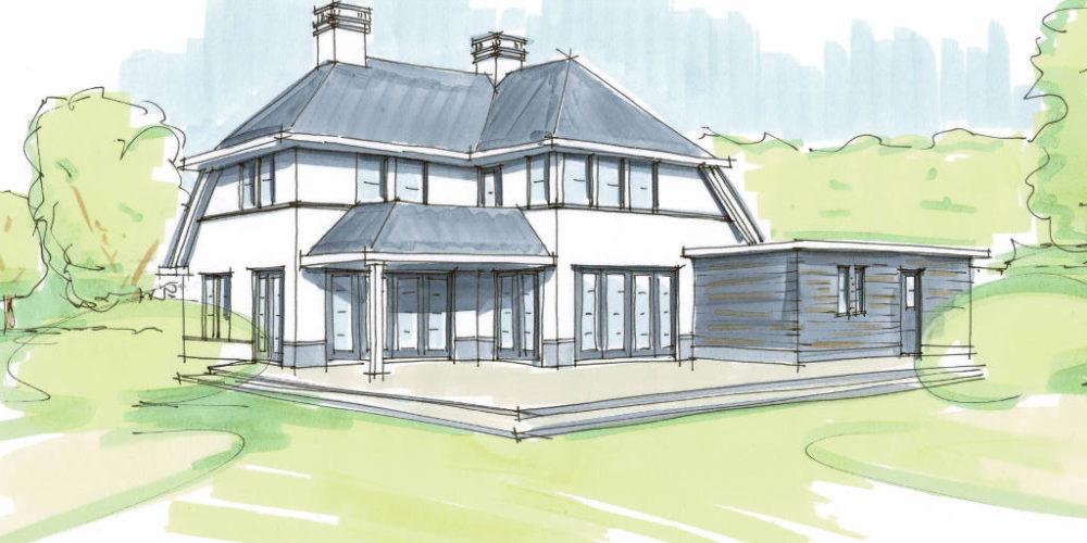 Moderne villa, mooie veranda, witte gevels, statige woning, nieuwbouw, architect, Raalte, Salland