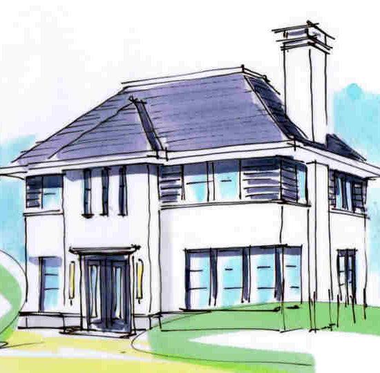 Witte villa met 2 bouwlagen en een kap met schoorsteen hoogsteder architecten raalte www.hoogstederarchitecten.nl