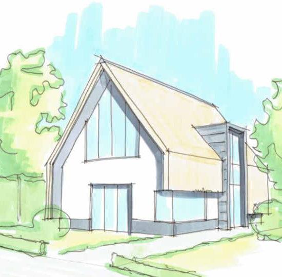 Rietgedekte nieuwbouw woning met veel glas en zink. Ontworpen door Hoogsteder architecten.