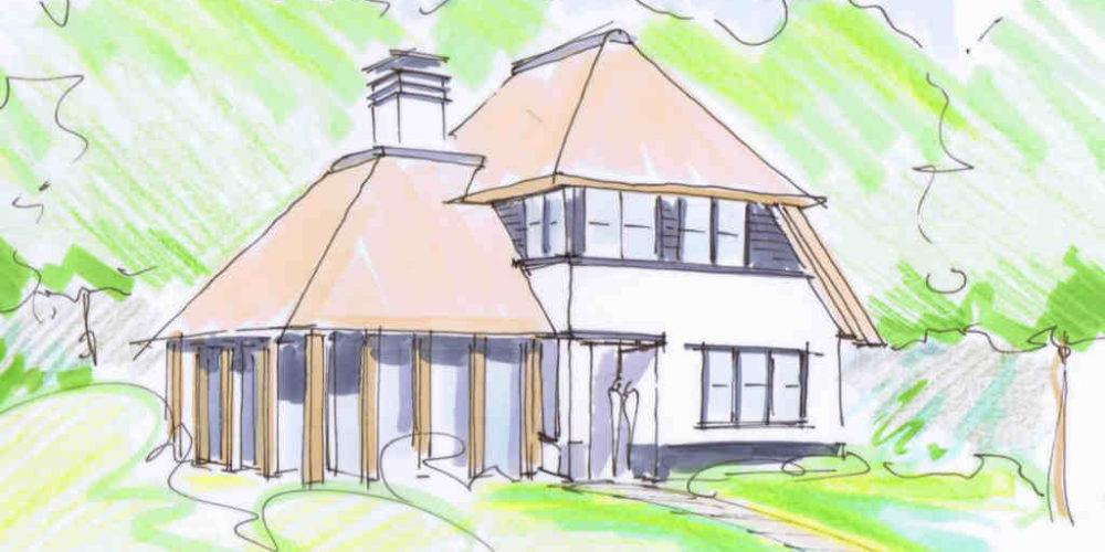 nieuwbouw rietgedekte villa met verspringende hoogtes en eikenhout hoogsteder architecten raalte www.hoogstederarchitecten.nl