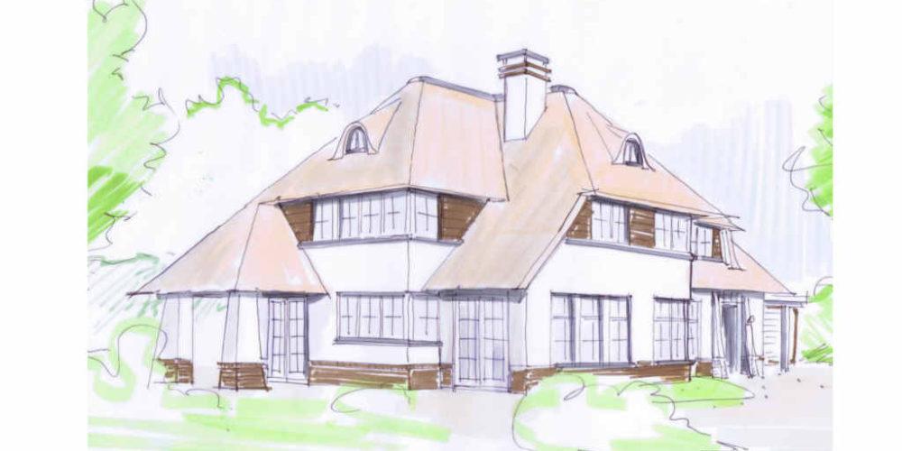 nieuwbouw speelse villa met rieten kap, witte gevel en veranda. Hoogsteder architecten Raalte www.hoogstederarchitecten.nl