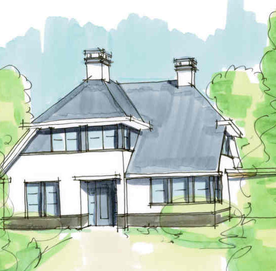 Woning in het buitengebied landelijk wonen met dakpannen en wit stuc ontwerp architect Hoogsteder architecten te Raalte