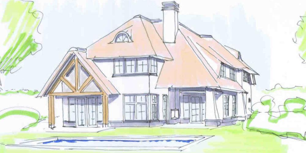 Ontwerp nieuwbouw villa met rietgedekte kap, wit stucwerk en houten details in landelijk gebied ontwerp architect Hoogsteder architecten te Raalte