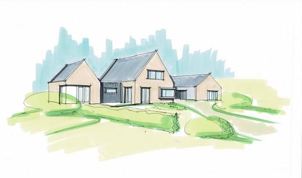 Bedrijfswoning, nieuwbouw moderne bedrijfswoning ontworpen door architectenbureau Hoogsteder architecten. Wij luisteren naar uw wensen en ideeën, brengen dit samen met onze creativiteit en expertise om u droomwoning te realiseren. Onze expertise: moderne woningen en landelijke schuurwoningen, energiezuinig en circulair bouwen.