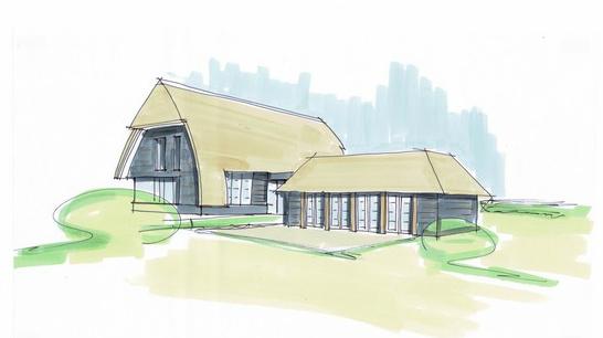 Moderne boerderij, moderne schuurwoning in het buitengebied met zicht op het landschap. Ontworpen door architectenbureau Hoogsteder architecten. Wij luisteren naar uw wensen en ideeën, brengen dit samen met onze creativiteit en expertise om u droomwoning te realiseren. Onze expertise: moderne woningen en landelijke schuurwoningen, energiezuinig en circulair bouwen. rietgedekte woning rietgedekte huizen rietgedekte landhuizen jaren 30 stijl