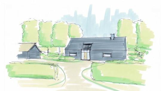 Moderne boerderij in het landelijk gebied. Ontworpen door architectenbureau Hoogsteder architecten. Wij luisteren naar uw wensen en ideeën, brengen dit samen met onze creativiteit en expertise om u droomwoning te realiseren. Onze expertise: moderne woningen en landelijke schuurwoningen, energiezuinig en circulair bouwen. rietgedekte woning