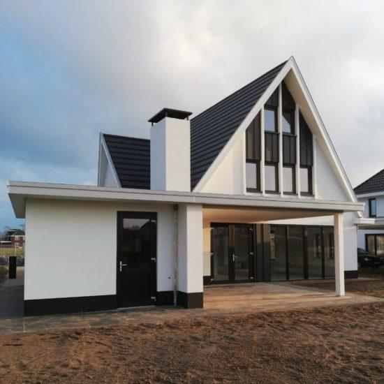 wit gestuct vrijstaande nieuwbouwwoning architectenbureau hoogsteder architecten huis wit gestuct strak