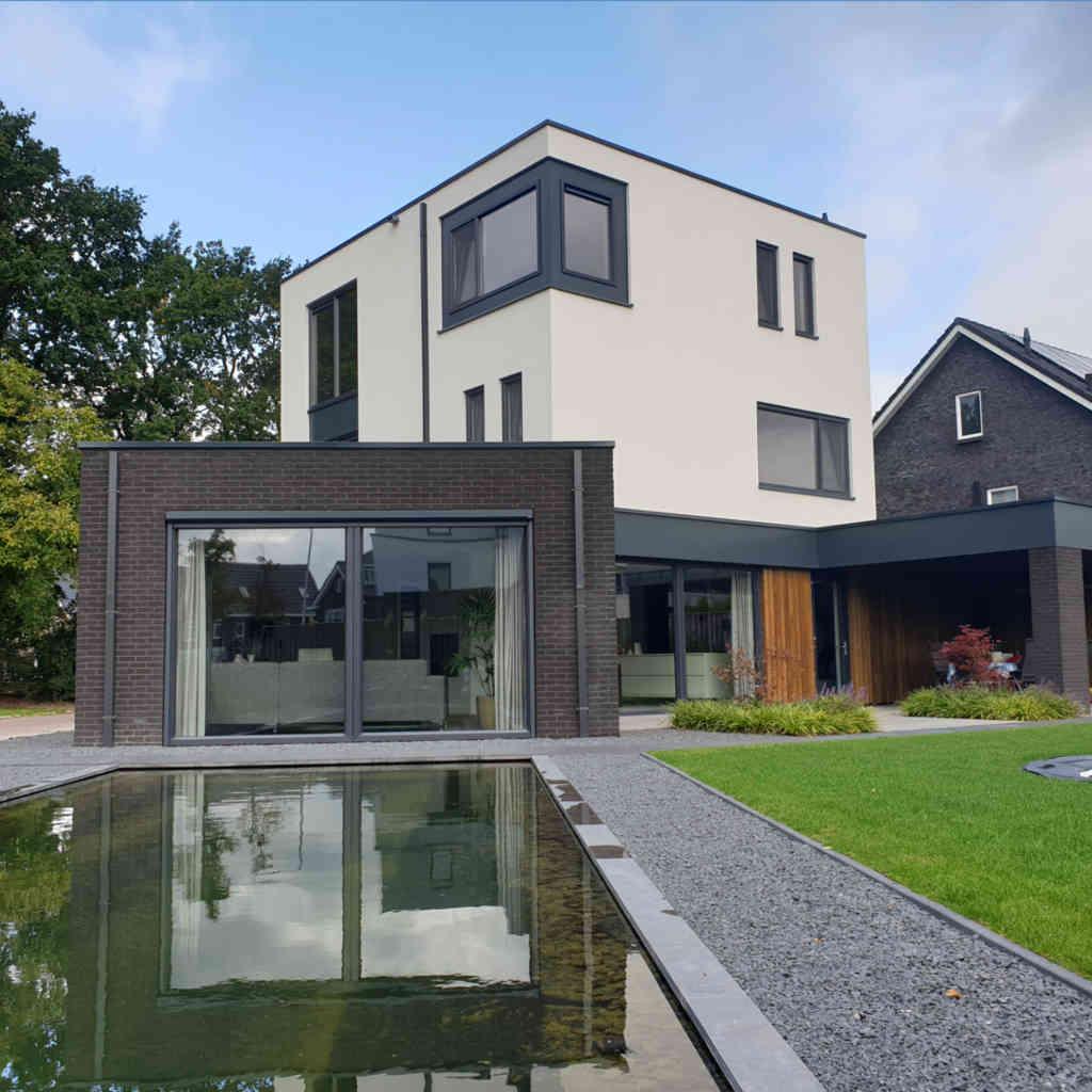 nieuwbouw woning strak minimalistisch raalte wit stuc metselwerk hoogsteder architecten 1
