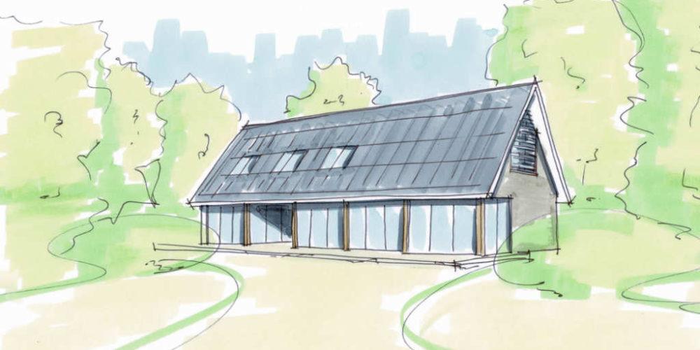 moderne schuurwoning dakpan veel licht glas hoogsteder architecten
