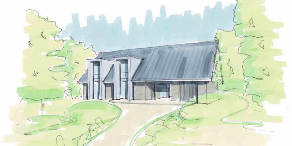 schuurwoning met ingekaderd glas luxe woning buitengebied hout glas ingekaderd
