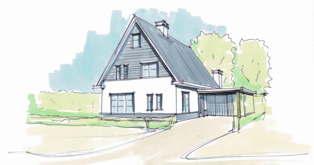 vrijstaande woning gezinswoning wit gestuct hoogsteder architecten