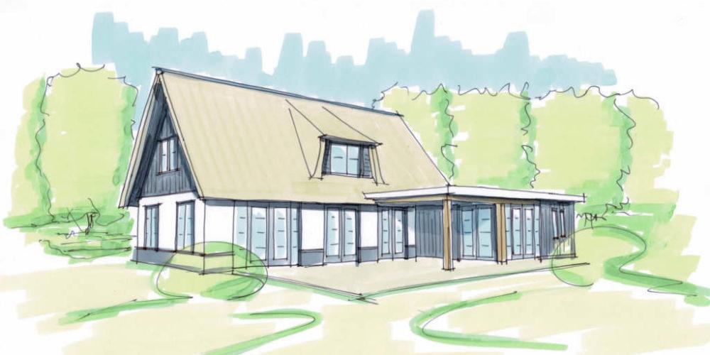 landelijke rietgedekte villa donker hout wit stucwerk architectenbureau Hoogsteder architecten