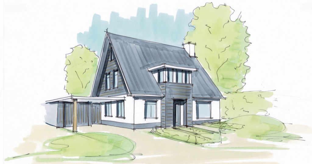 stappen architect nieuwbouw gezinswoning wit gestuct hout modern